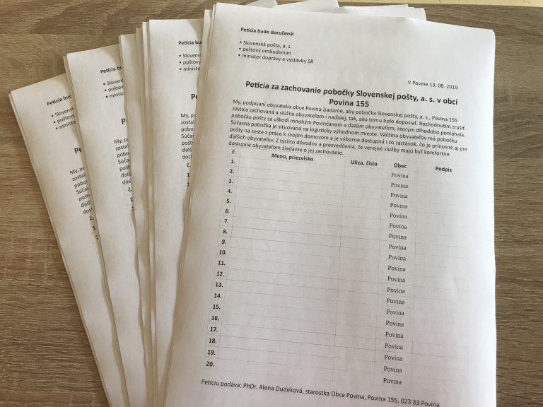 Petičná akcia za zachovanie pošty v Povine