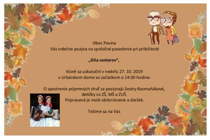 Pozvánka na Deň seniorov